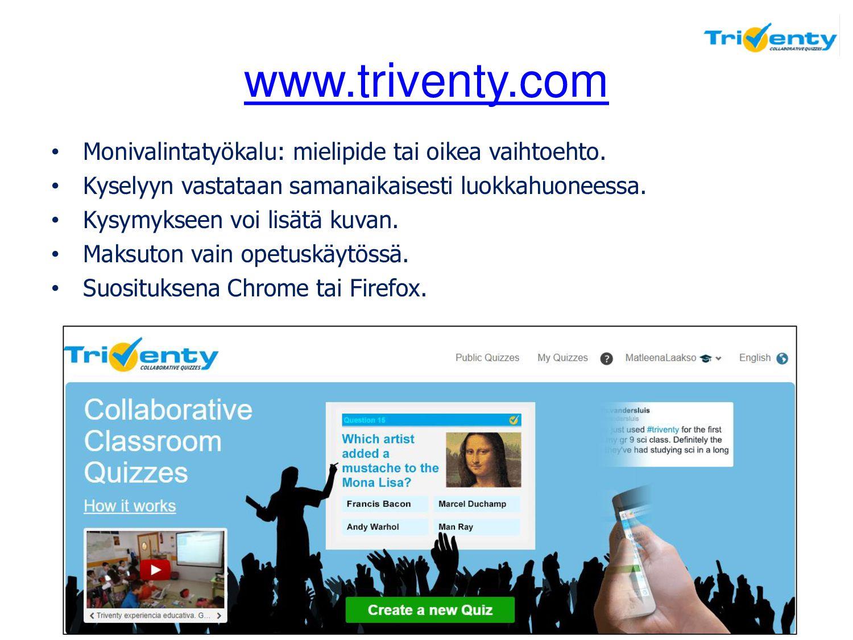 www.triventy.com • Monivalintatyökalu: mielipid...