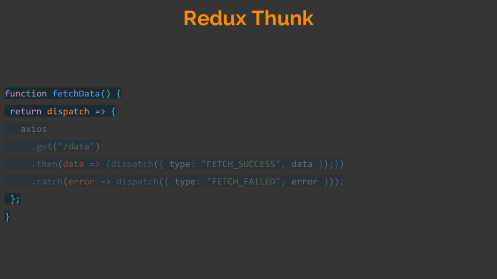 function fetchData() { return dispatch => { axi...