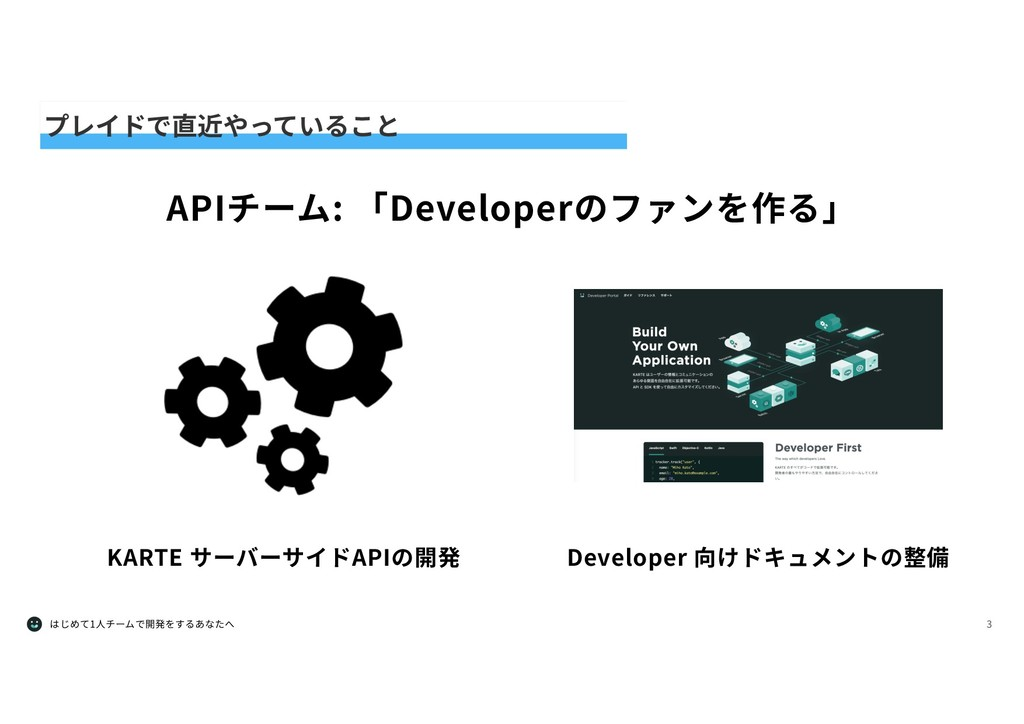 はじめて1⼈チームで開発をするあなたへ 3 プレイドで直近やっていること APIチーム: 「D...