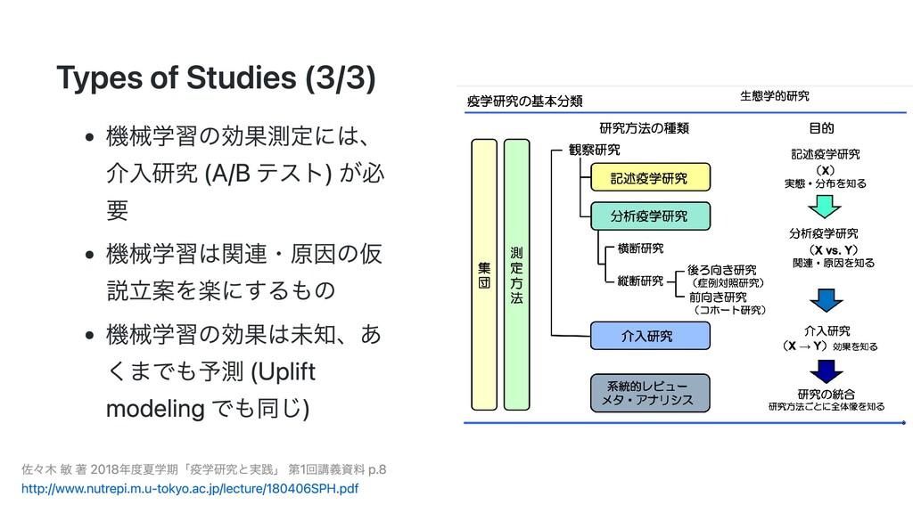 Types of Studies (3/3) 機械学習の効果測定には、 介⼊研究 (A/B テ...