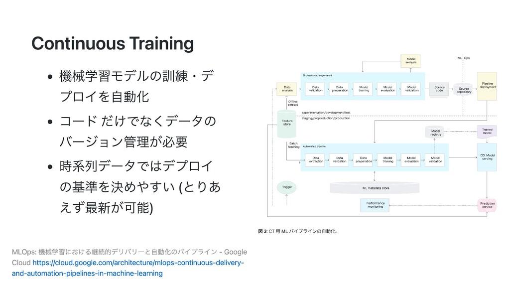 Continuous Training 機械学習モデルの訓練・デ プロイを⾃動化 コード だけ...