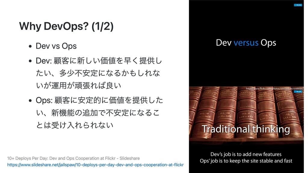Why DevOps? (1/2) Dev vs Ops Dev: 顧客に新しい価値を早く提供...