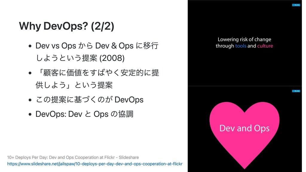 Why DevOps? (2/2) Dev vs Ops から Dev & Ops に移⾏ し...