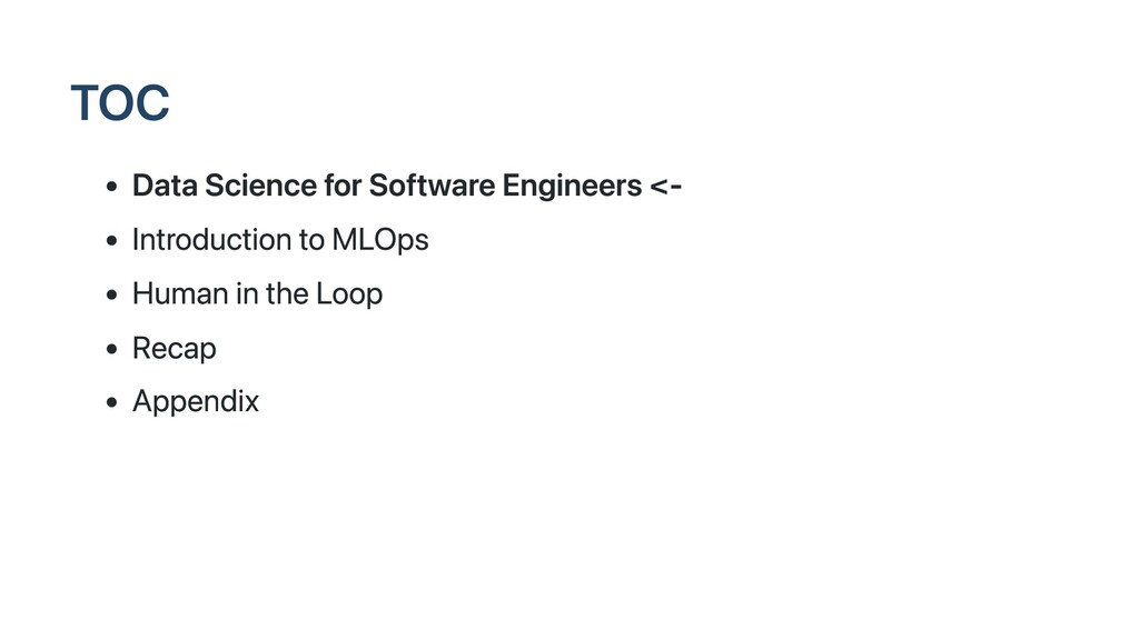 TOC Data Science for Software Engineers <- Intr...
