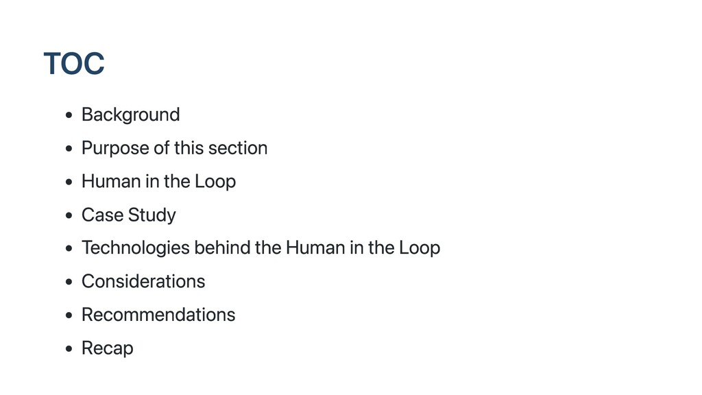 TOC Background Purpose of this section Human in...