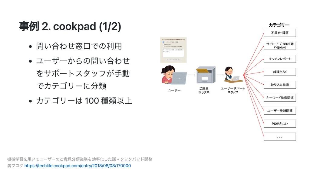 事例 2. cookpad (1/2) 問い合わせ窓⼝での利⽤ ユーザーからの問い合わせ をサ...