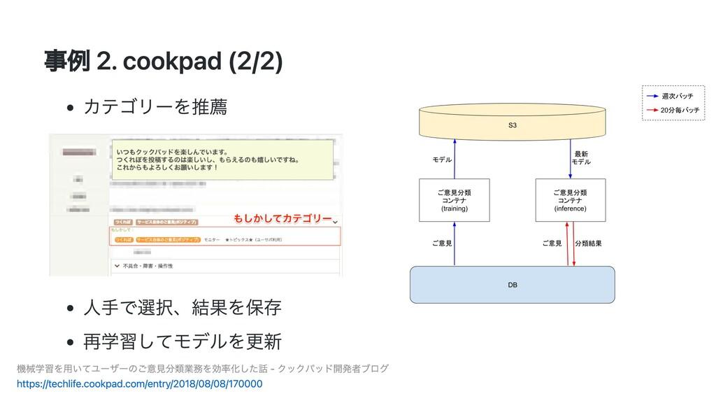 事例 2. cookpad (2/2) カテゴリーを推薦 ⼈⼿で選択、結果を保存 再学習してモ...