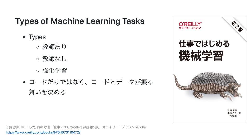 Types of Machine Learning Tasks Types 教師あり 教師なし...