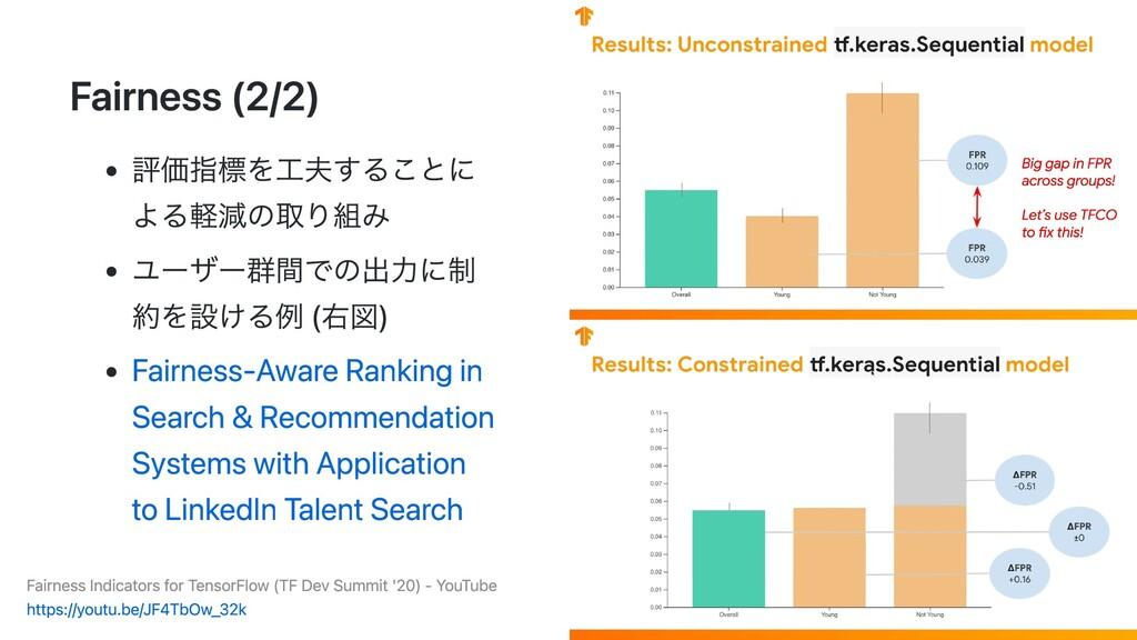 Fairness (2/2) 評価指標を⼯夫することに よる軽減の取り組み ユーザー群間での出...