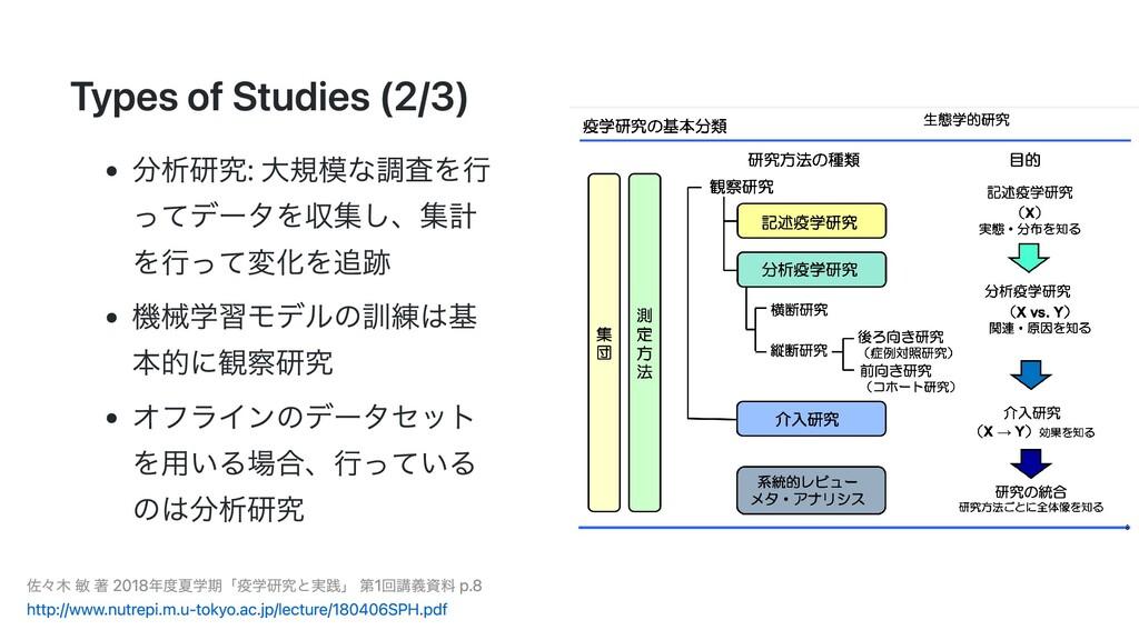 Types of Studies (2/3) 分析研究: ⼤規模な調査を⾏ ってデータを収集し...