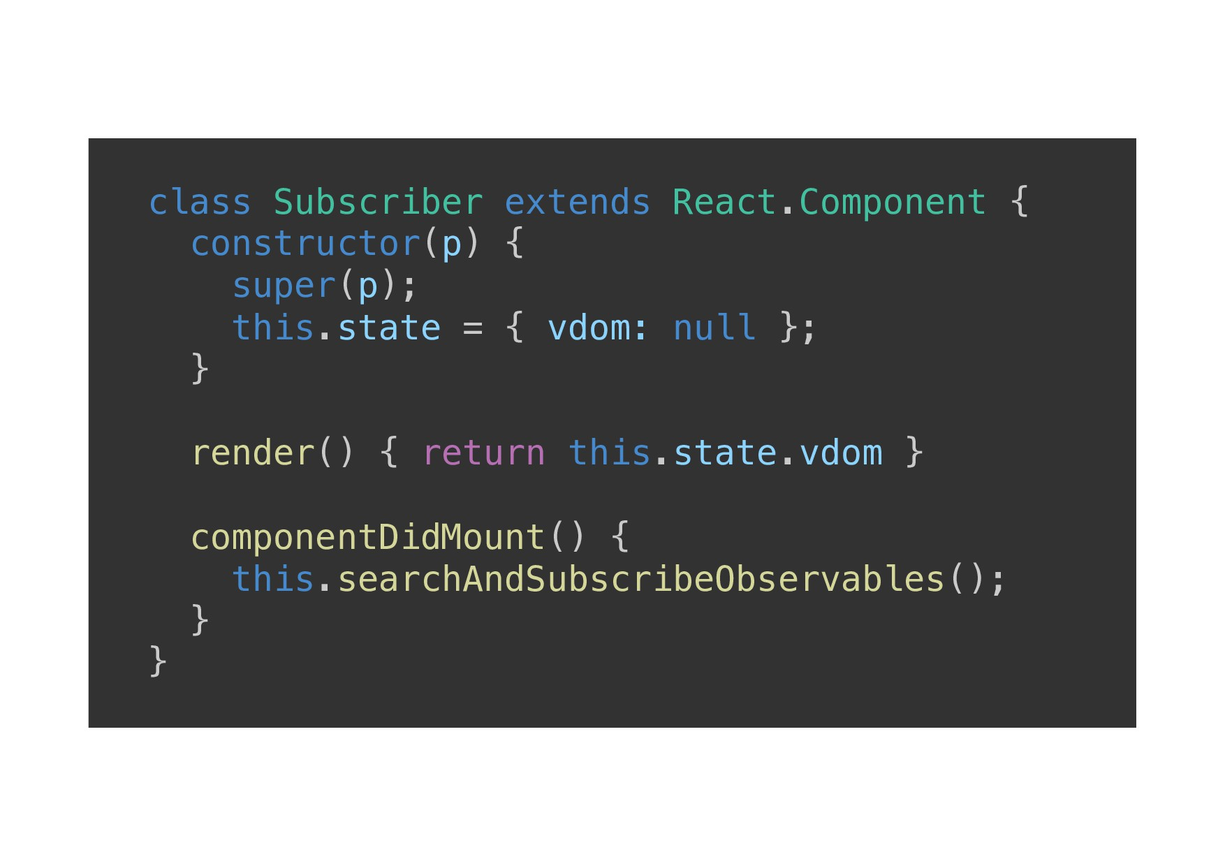 class Subscriber extends React.Component {! con...