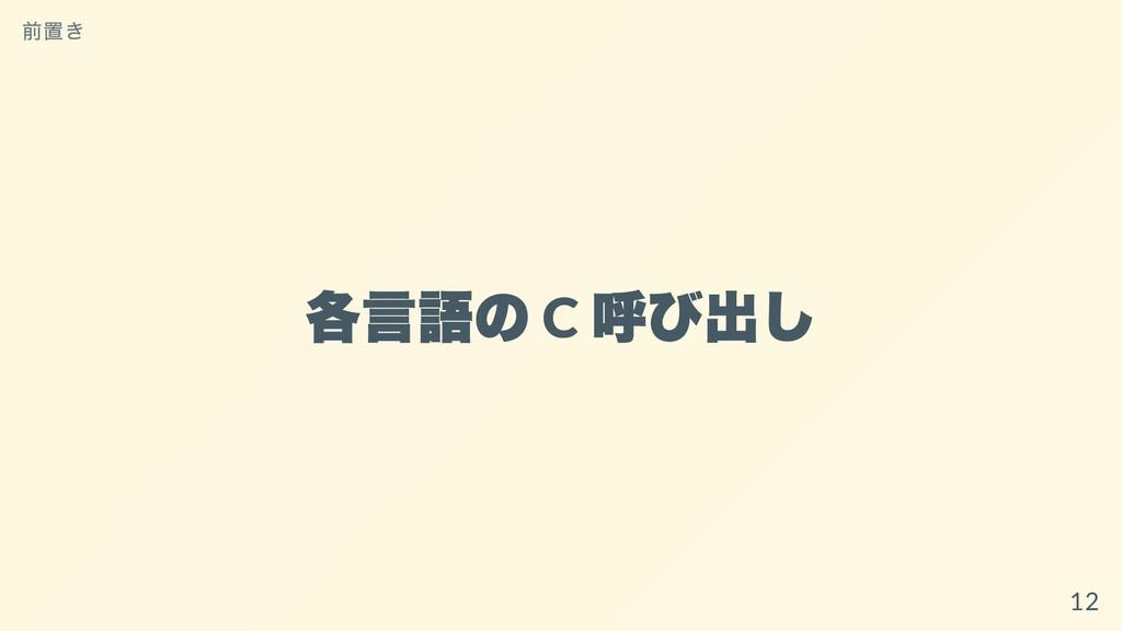 各⾔語の C 呼び出し 前置き 12