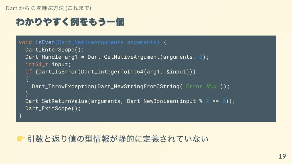 わかりやすく例をもう⼀個 void isEven(Dart_NativeArguments a...