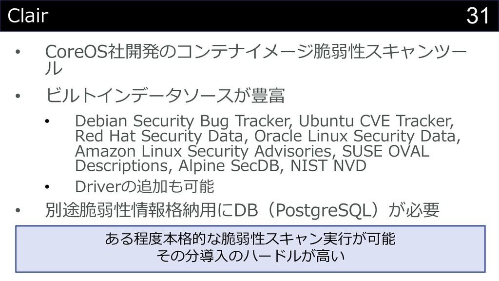 31 Clair • CoreOS社開発のコンテナイメージ脆弱性スキャンツー ル • ビルトイ...
