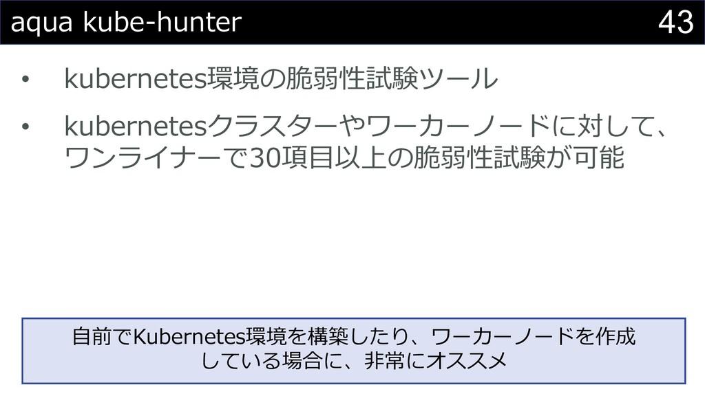 43 aqua kube-hunter • kubernetes環境の脆弱性試験ツール • k...