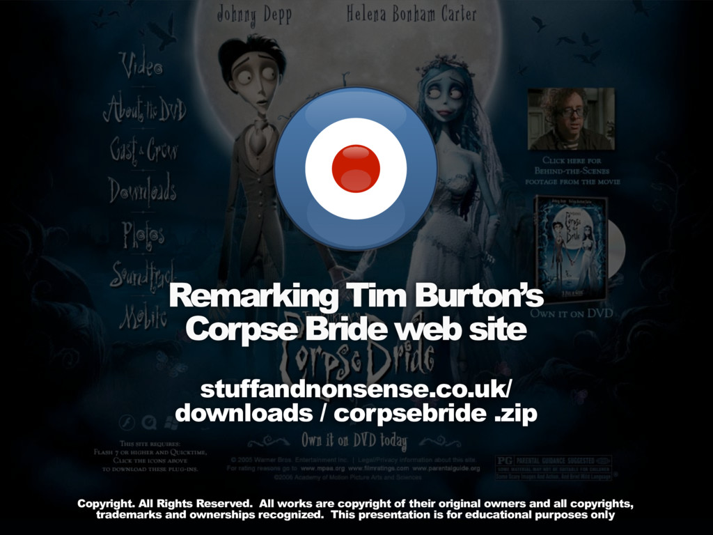 Remarking Tim Burton's Corpse Bride web site st...
