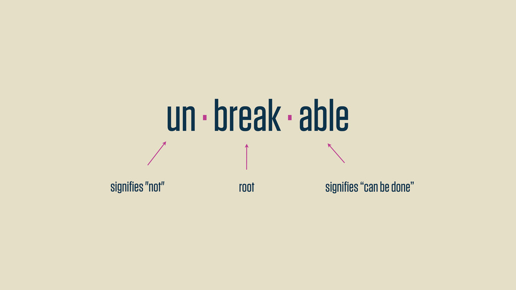 """un · break · able signifies """"not"""" root signifies ..."""