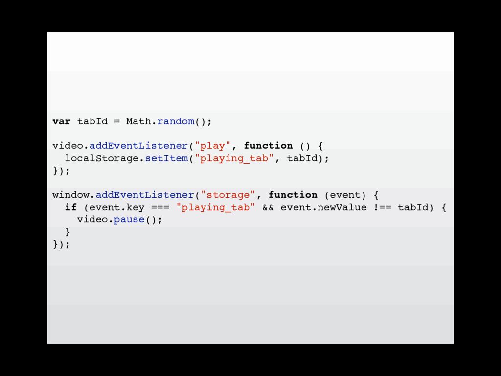var tabId = Math.random(); video.addEventListen...