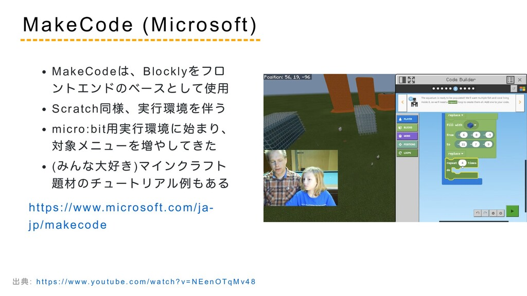 MakeCode は、Blockly をフロ ントエンドのベースとして使用 Scratch 同...