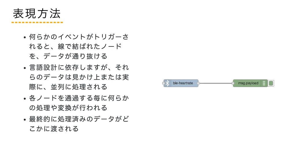 何らかのイベントがトリガーさ れると、線で結ばれたノード を、データが通り抜ける 言語設計に依...