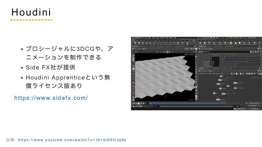 プロシージャルに3DCG や、ア ニメーションを制作できる Side FX 社が提供 Houd...