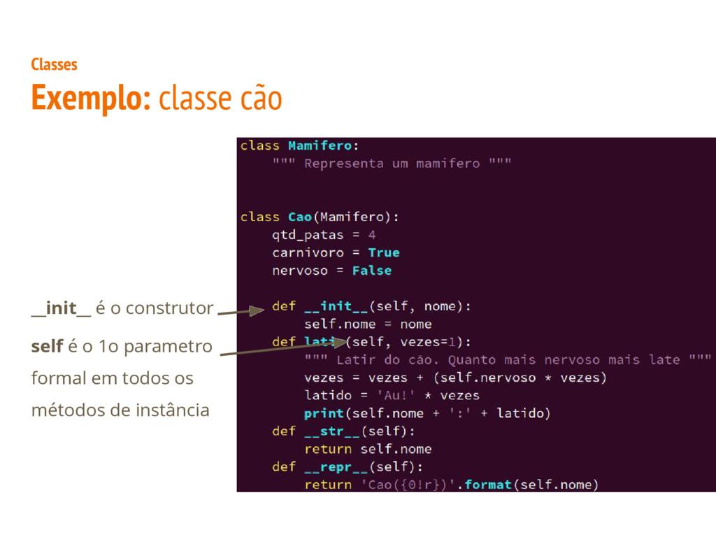 Classes Exemplo: classe cão __init__ é o constr...