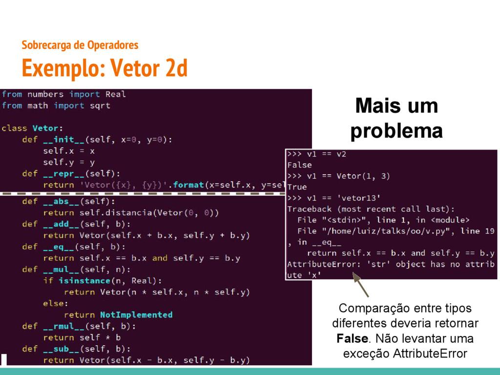● Sobrecarga de Operadores Exemplo: Vetor 2d Co...