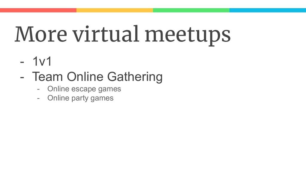 More virtual meetups - 1v1 - Team Online Gather...