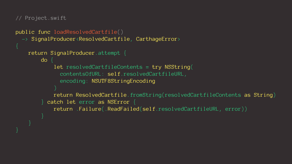 // Project.swift public func loadResolvedCartfi...
