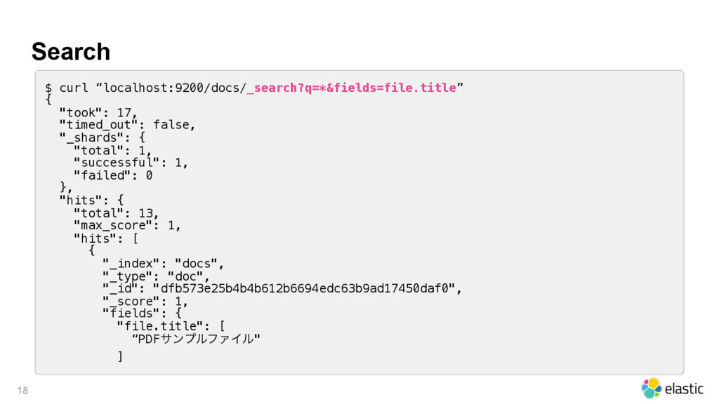 "Search 18 $ curl ""localhost:9200/docs/_search?q..."