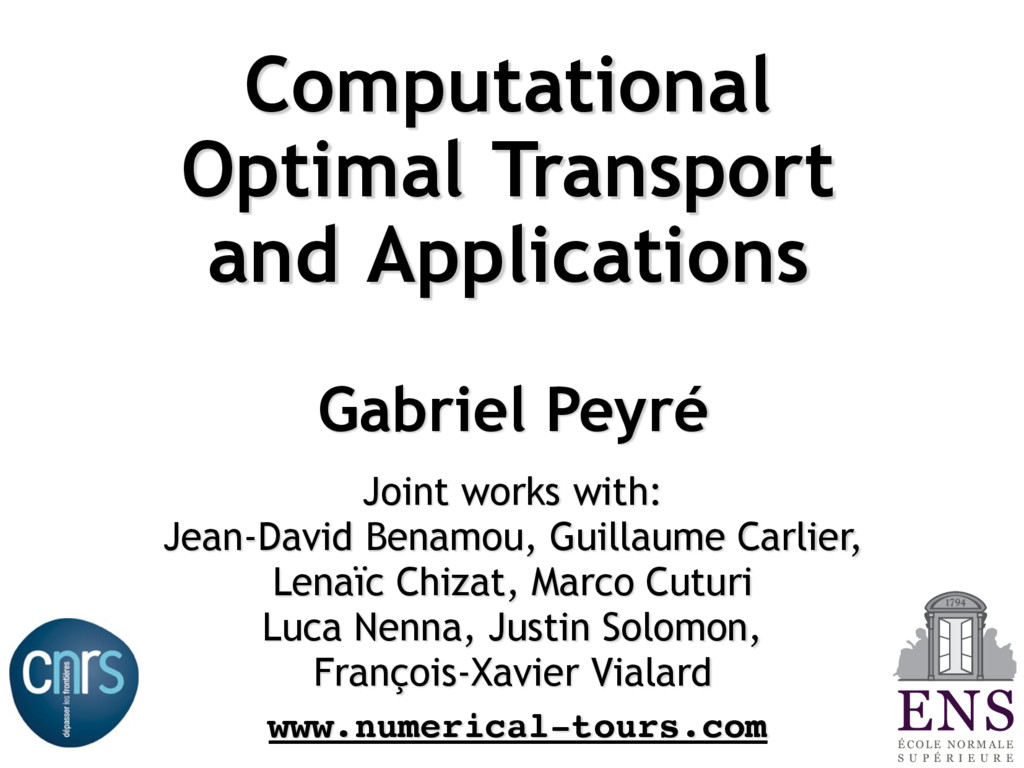 Computational Optimal Transport and Application...