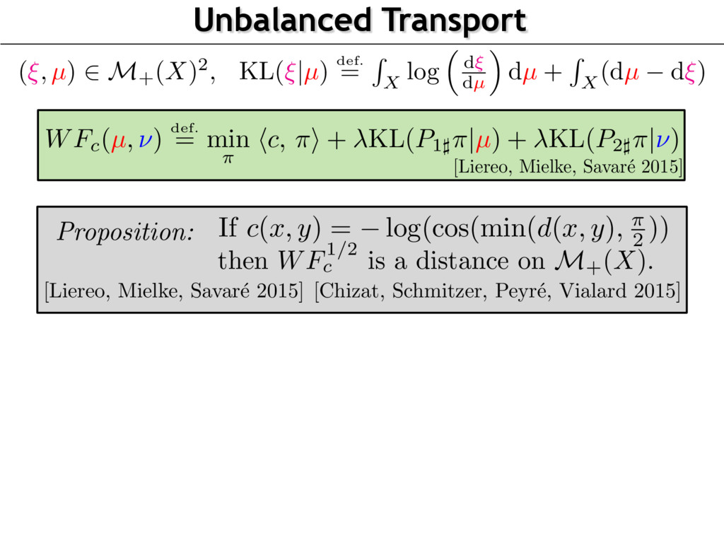 Unbalanced Transport [Liereo, Mielke, Savar´ e ...