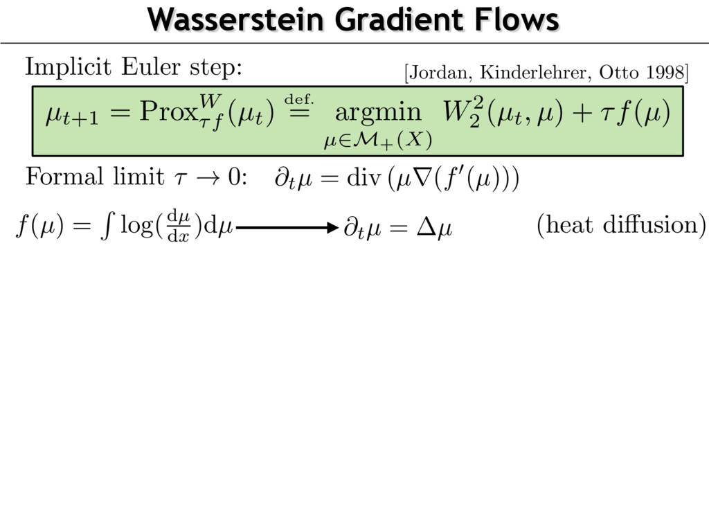 Wasserstein Gradient Flows Implicit Euler step:...