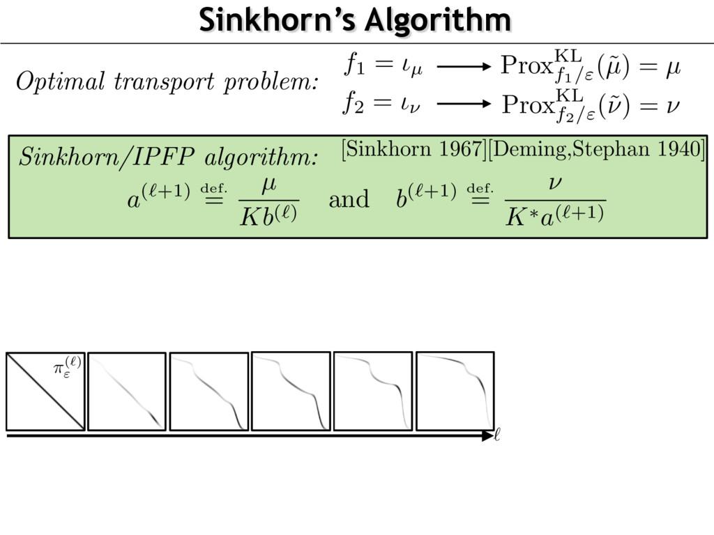 "Sinkhorn's Algorithm Prox KL f1/""(˜ µ ) = µ Pro..."