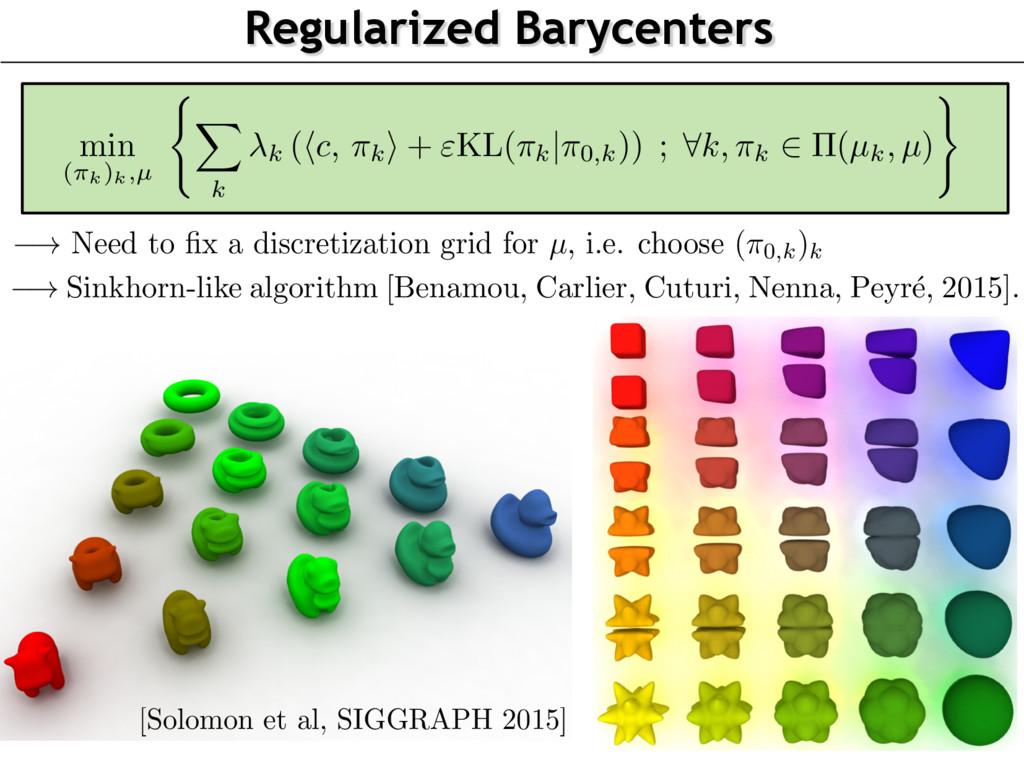 Regularized Barycenters ! Need to fix a discreti...