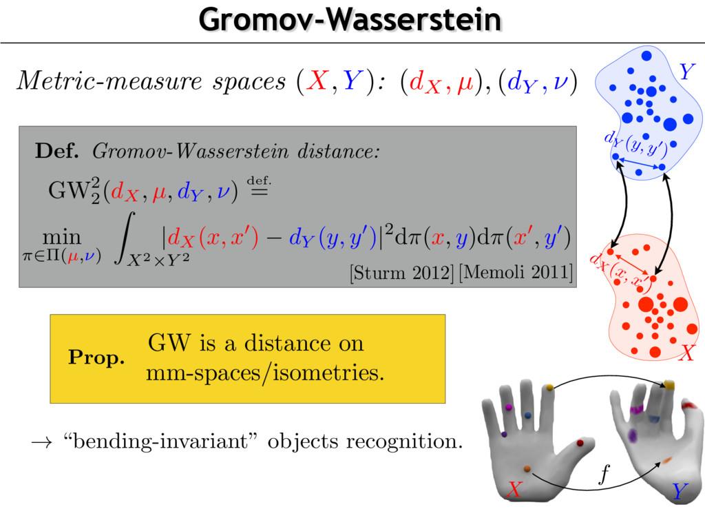 X Y Gromov-Wasserstein f X Y Prop. GW is a dist...