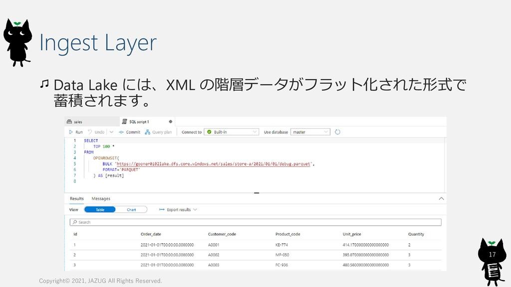Ingest Layer Data Lake には、XML の階層データがフラット化された形式...
