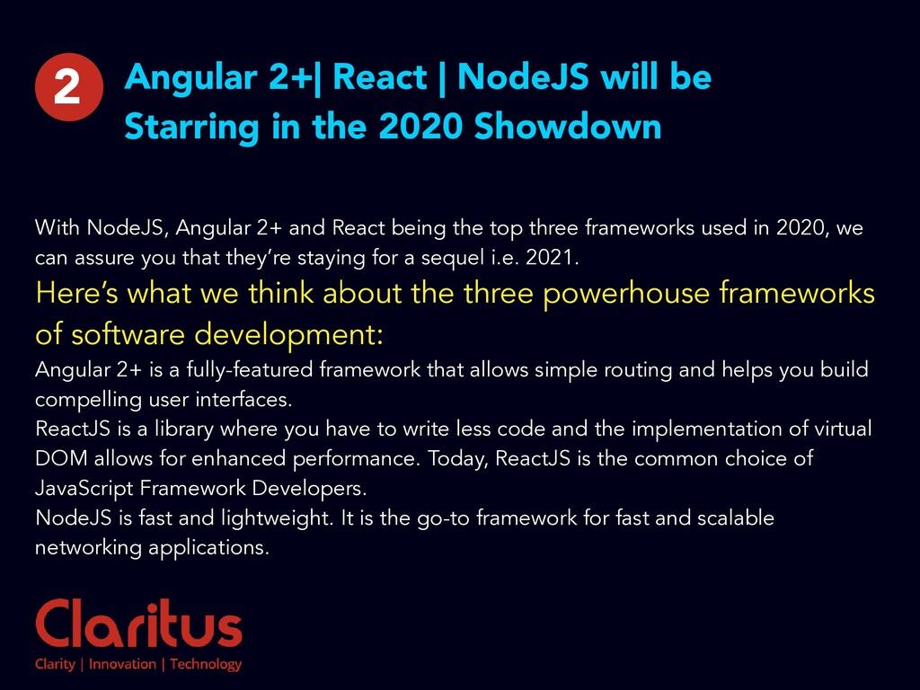Angular 2+| React | NodeJS will be Starring in ...