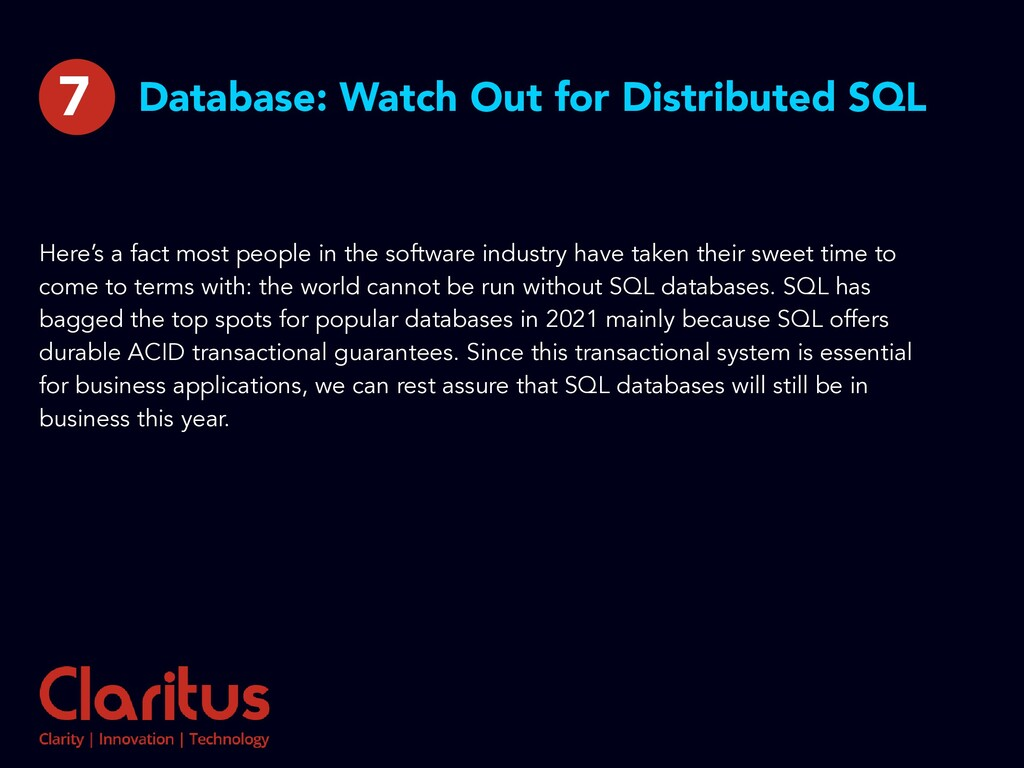 Database: Watch Out for Distributed SQL Here's ...