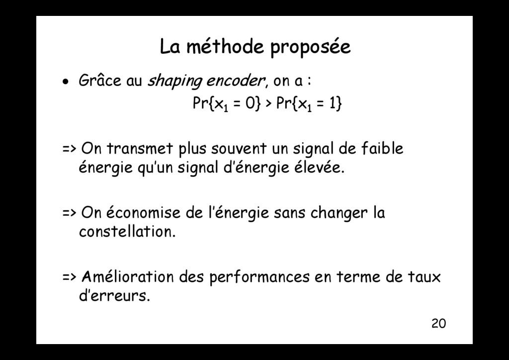 La méthode proposée p p  Grâce au shaping enco...