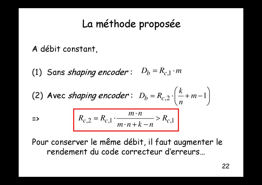 La méthode proposée p p A débit constant A débi...