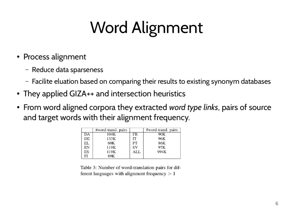 6 Word Alignment ● Process alignment – Reduce d...