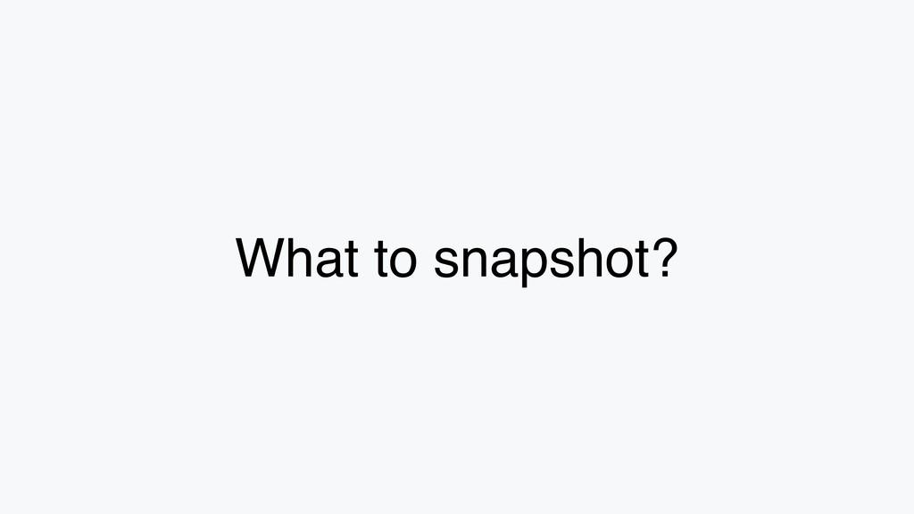 What to snapshot?