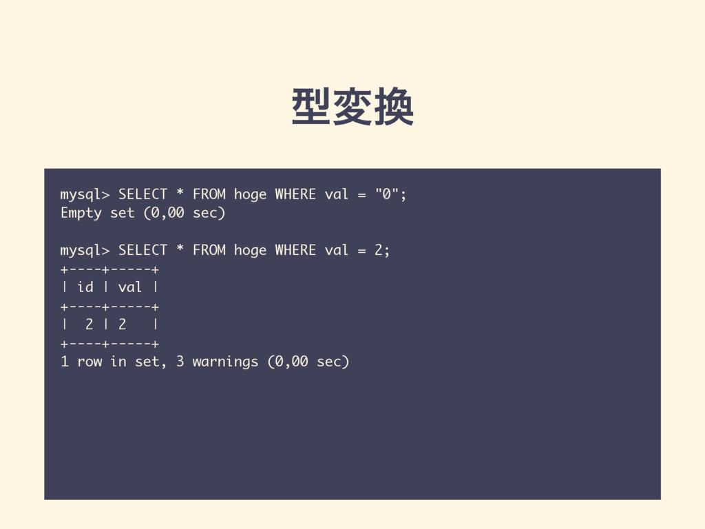 "ܕม mysql> SELECT * FROM hoge WHERE val = ""0""; ..."