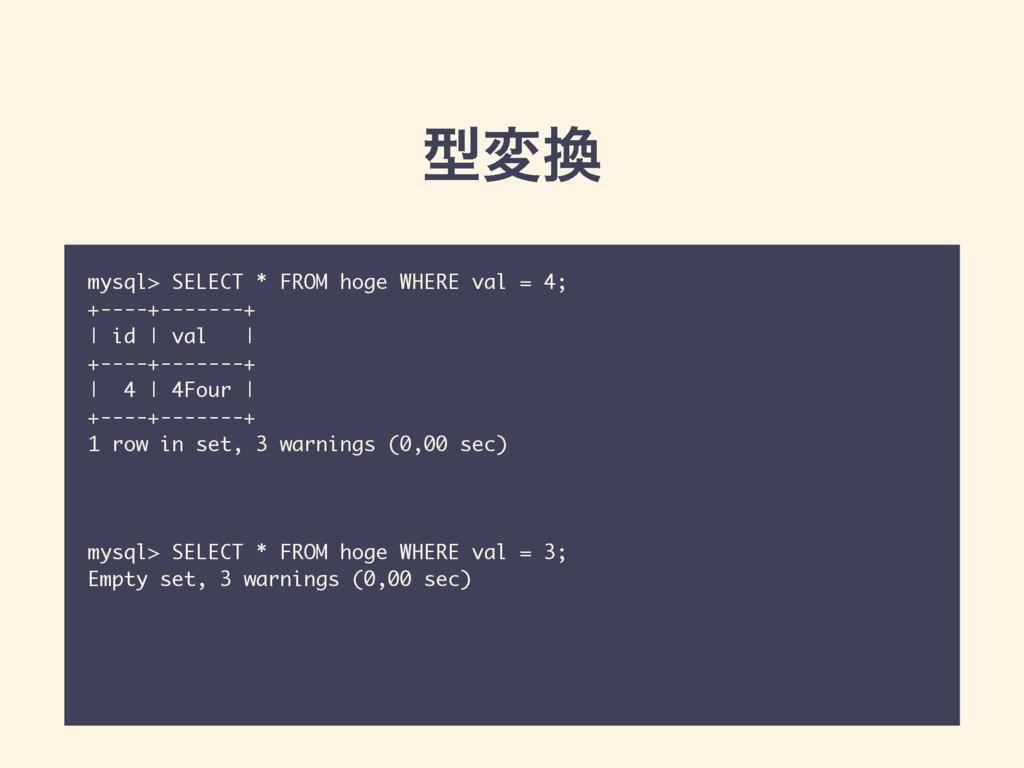 ܕม mysql> SELECT * FROM hoge WHERE val = 4; +-...