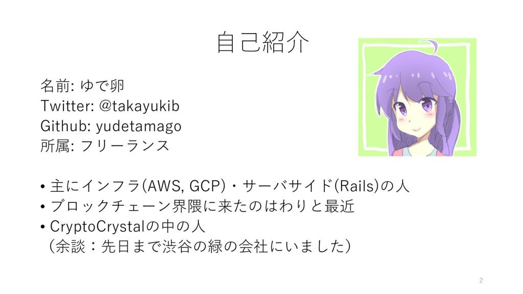 ⾃⼰紹介 名前: ゆで卵 Twitter: @takayukib Github: yudeta...