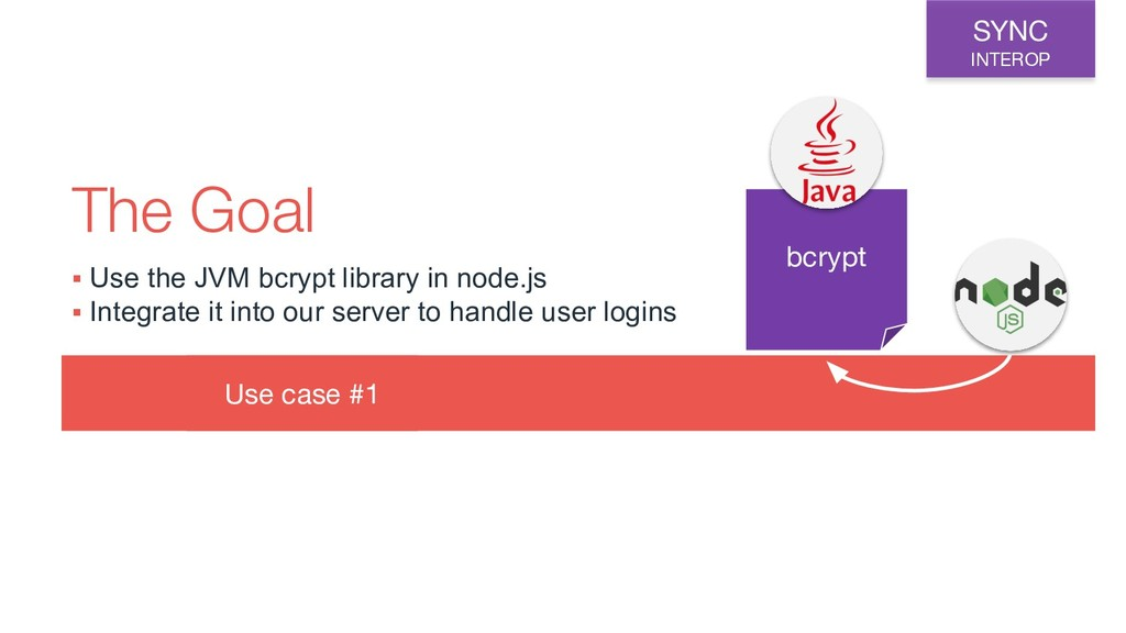 Use case #1 The Goal bcrypt SYNC INTEROP ▪ Use ...