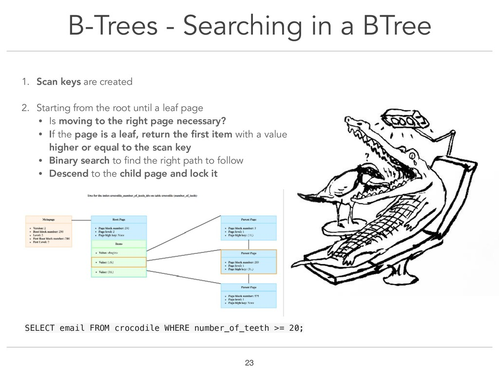 B-Trees - Searching in a BTree !23 1. Scan keys...