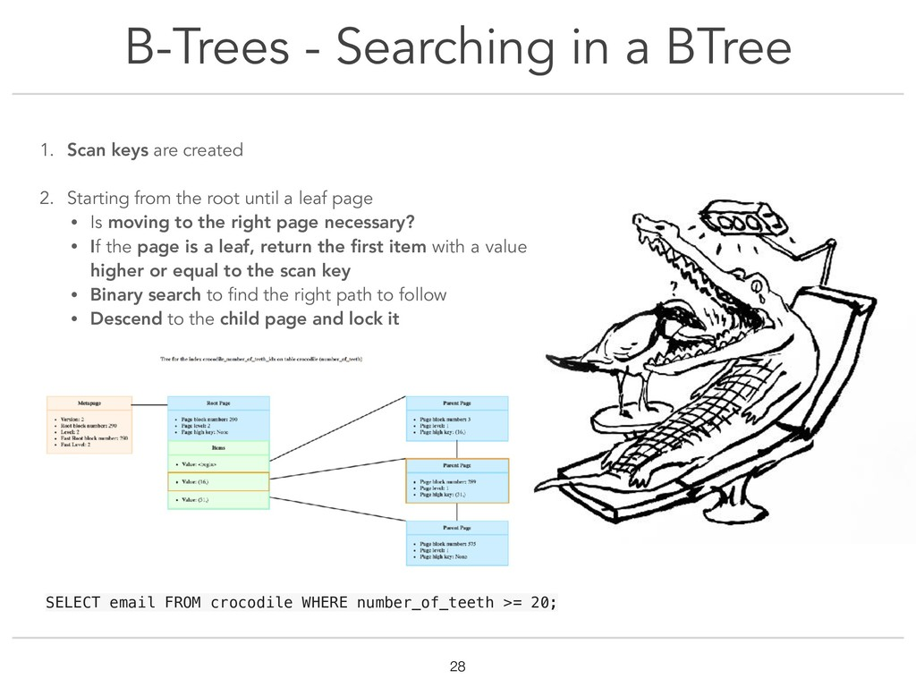 B-Trees - Searching in a BTree !28 1. Scan keys...