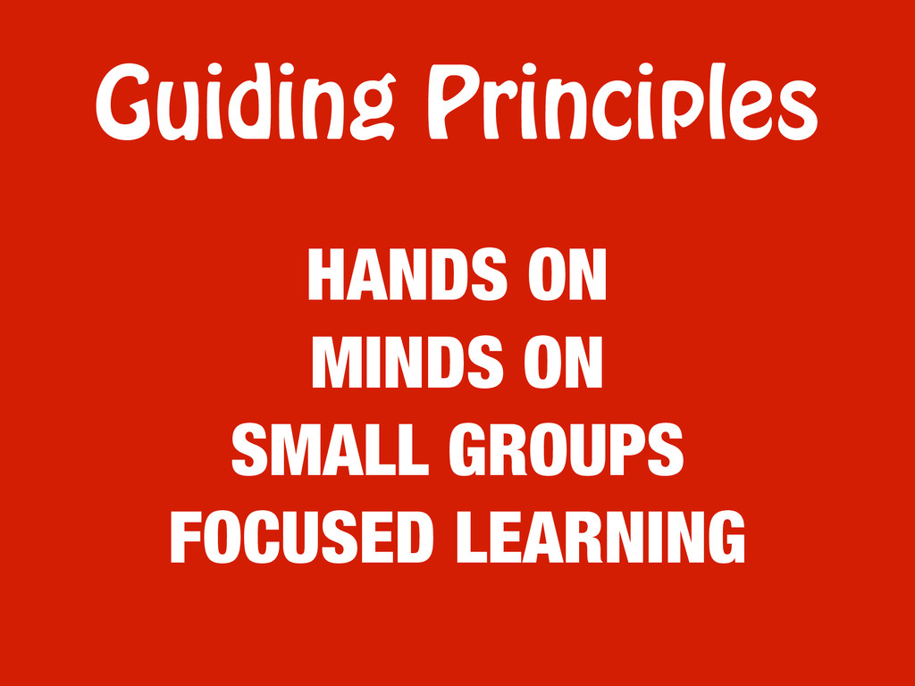 Guiding Principles HANDS ON MINDS ON SMALL GROU...